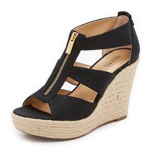 Michael Kors Black Damita Wedge Sandals Size 8.5